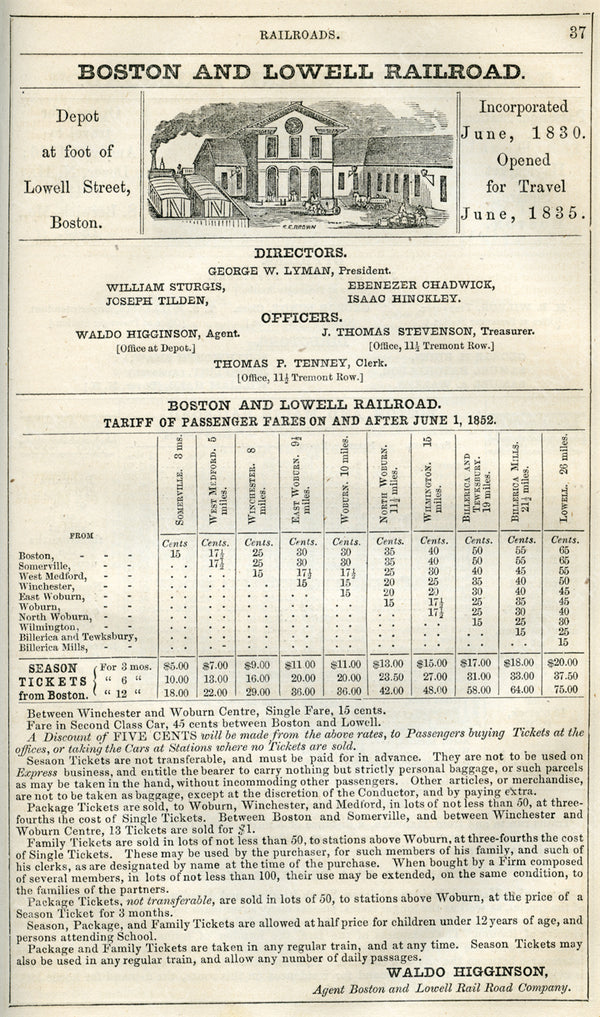 Boston & Lowell Railroad Print Ad 1852