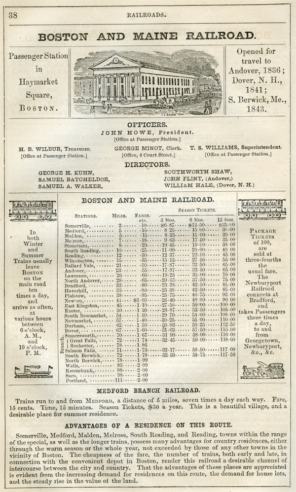 Boston & Maine Railroad Print Ad 1852