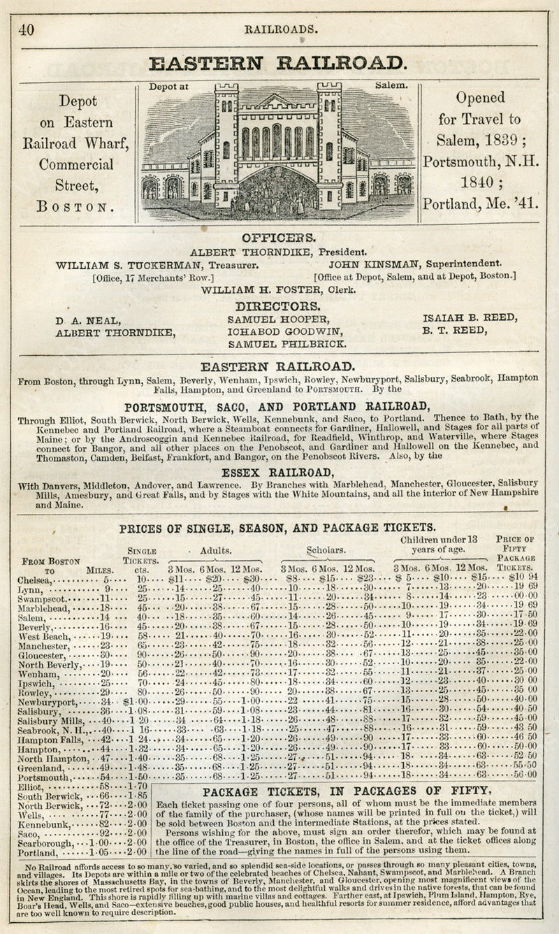 Eastern Railroad Print Ad 1852