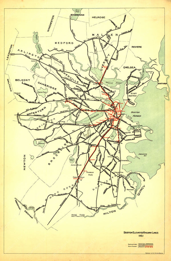 Boston Elevated Railway Lines 1921
