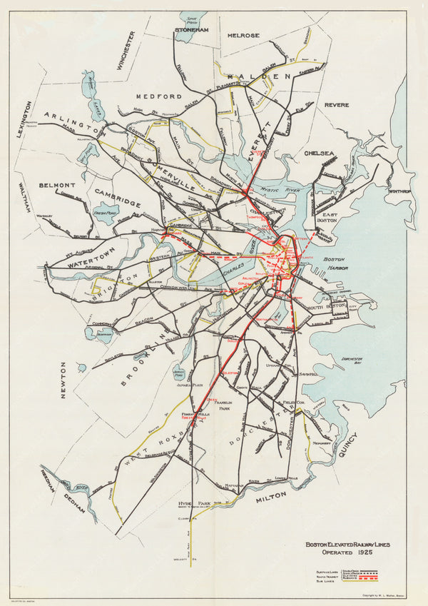 Boston Elevated Railway Lines 1925