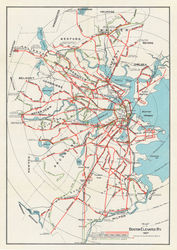 Boston Elevated Railway Lines 1927