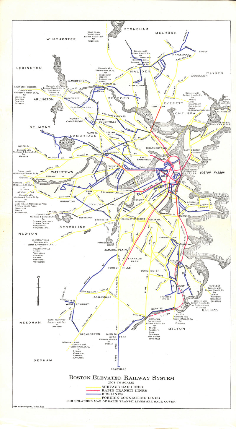 Boston Elevated Railway Guide Map 1929