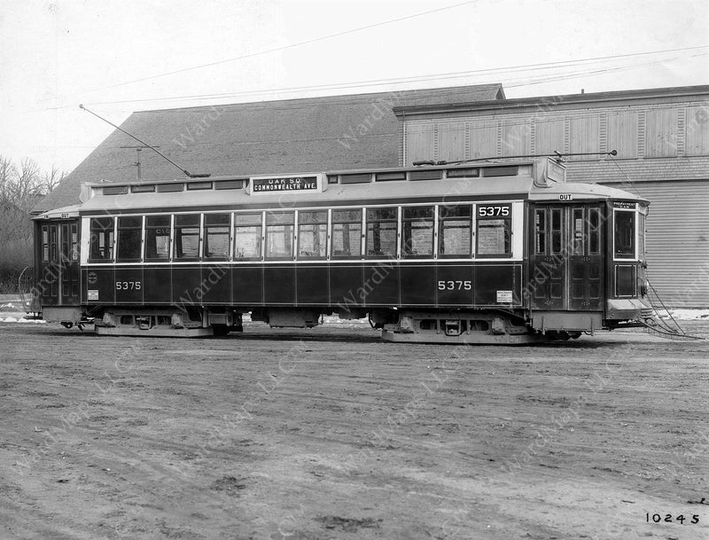Boston Elevated Railway Co. Semi-convertible Streetcar #5375 1914