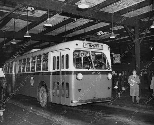 MTA Trolley Bus at Fields Corner Station 1948
