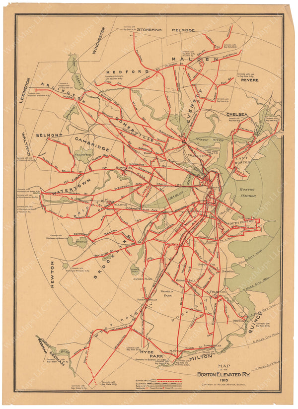 Boston Elevated Railway System Map 1915