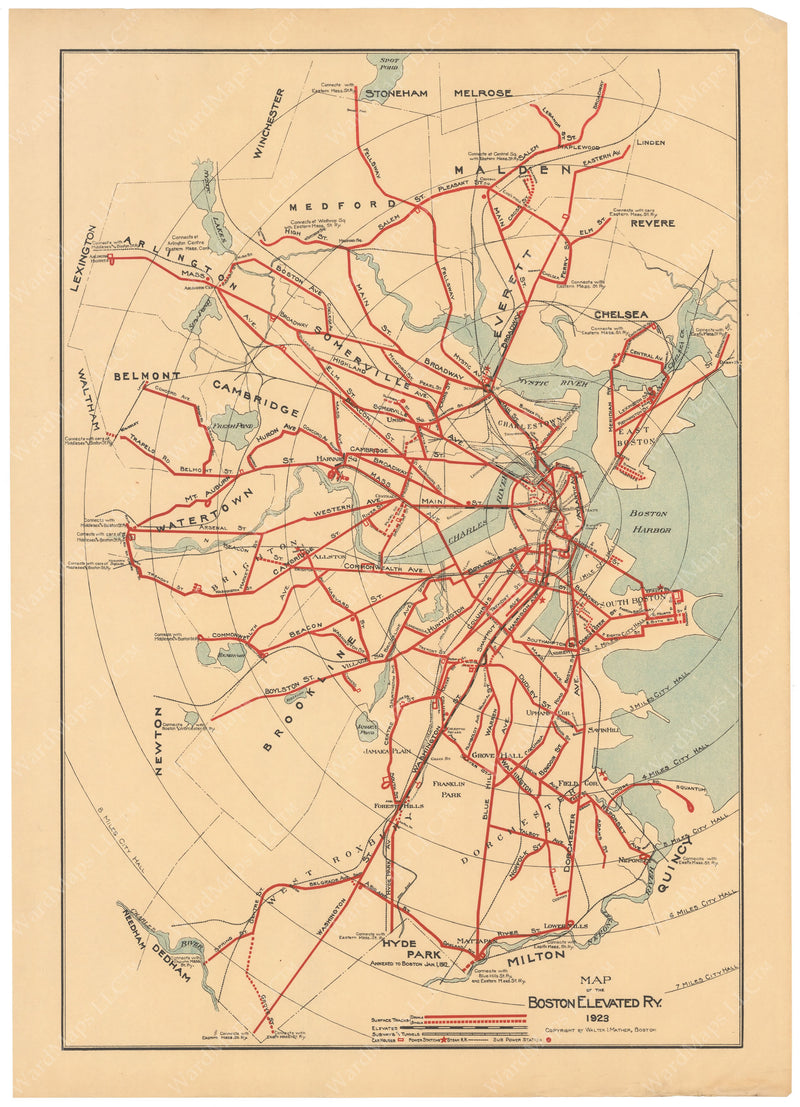 Boston Elevated Railway System Map 1923