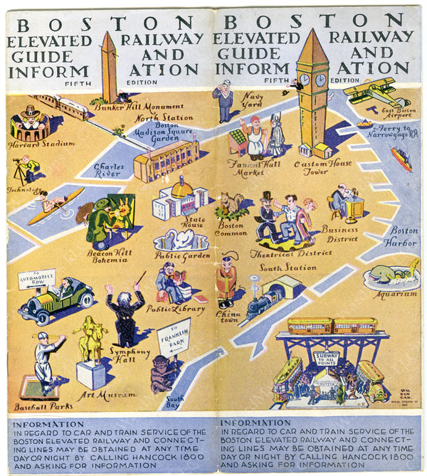 Boston Elevated Rawley Co. Guide and Information Cover, Fifth Ed., 1929