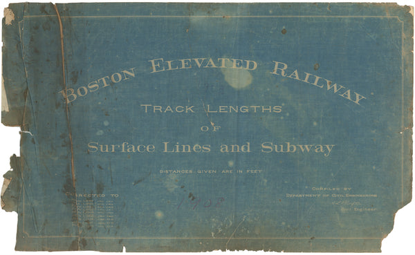 Boston Elevated Railway Co. Track Plans 1908 Title Page