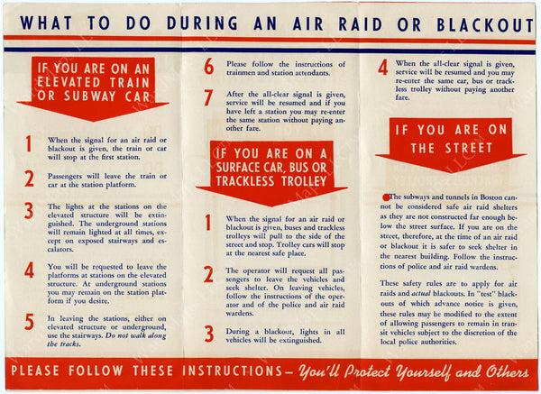 Boston Elevated Railway Co. Air Raid Preparedness Brochure (Side B) June 1942