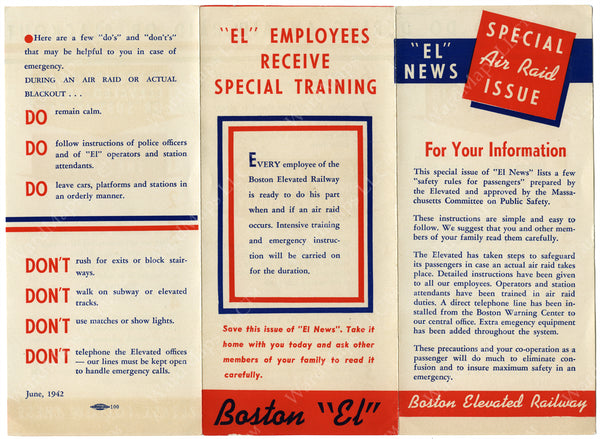 Boston Elevated Railway Co. Air Raid Preparedness Brochure (Side A) June 1942