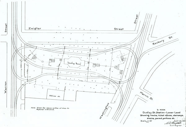 Dudley Street Terminal Street-level Plan April 29, 1910