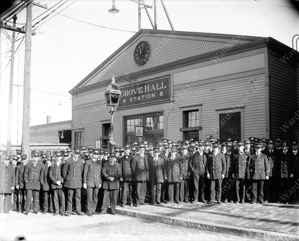 Boston Elevated Railway Co. Employees at Grove Hall Circa 1890s