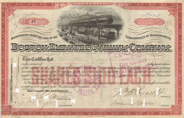 Boston Elevated Railway CO. Stock Certificate 1900
