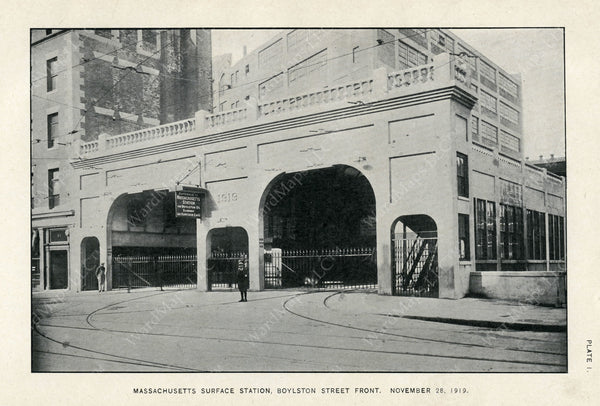 BTD Annual Report 1919 Plate 01: Massachusetts Surface Station, Boylston Street Portals