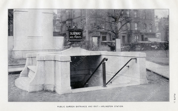 BTD Annual Report 1921 Plate 02: Arlington Station, Public Garden Entrance