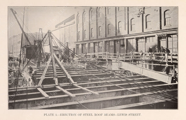 BTD Annual Report 1925 Plate 01: Steelwork at Lewis Street, East Boston