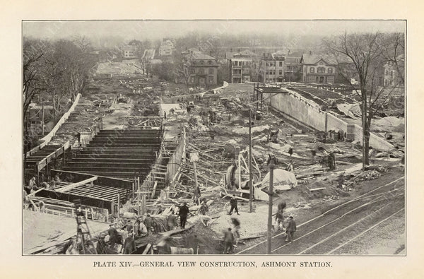 BTD Annual Report 1927 Plate 14: Ashmont Station Construction