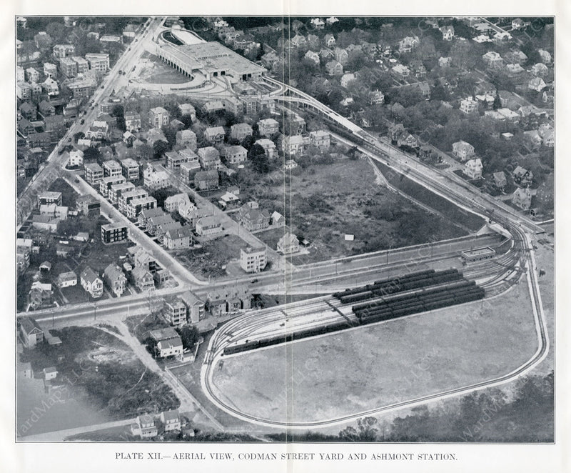 BTD Annual Report 1928 Plate 12: Aerial view of Codman Yard and Ashmont Station