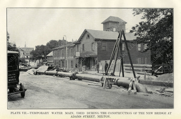 BTD Annual Report 1929 Plate 07: Temp. Water Main at Adams Street Bridge, Milton