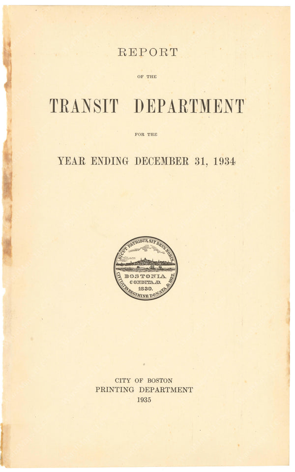 BTD Annual Report 1934 Title Page