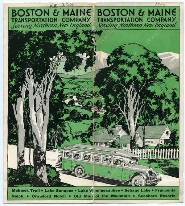 Boston & Maine Transportation Co. Bus Schedule Cover 1932