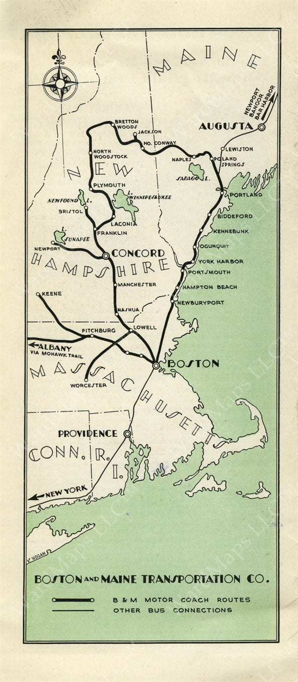 Boston & Maine Transportation Co. Bus Schedule Map 1932