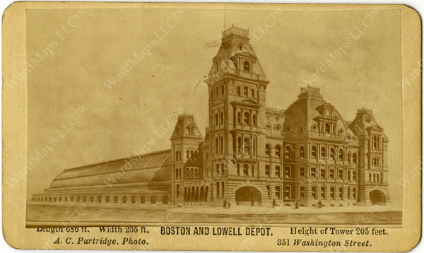 Boston & Lowell Railroad Passenger Terminal, Boston, Massachusetts Circa 1875