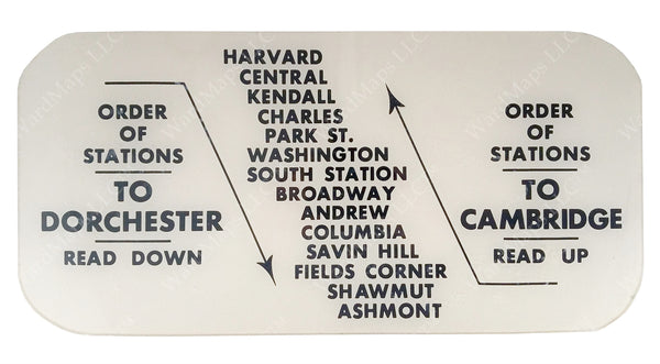 "MTA ""Blue Bird"" Order of Stations Sign 1962"