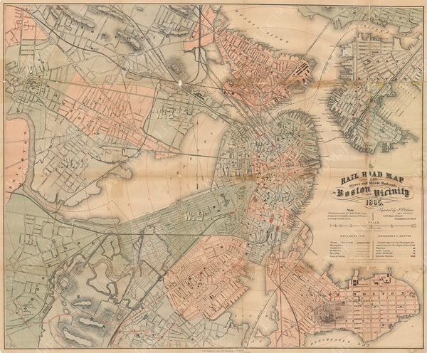 Chase's Railroad Map of Boston 1865