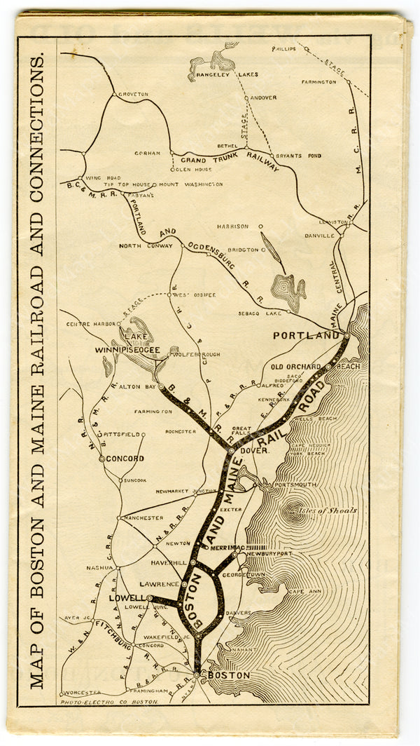 Boston & Maine Railroad Map from 1852 Boston Almanac
