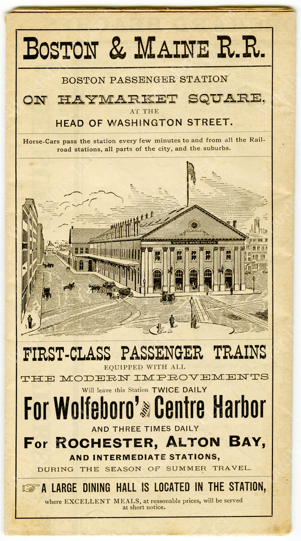 Boston & Maine Railroad Advertisement 1852