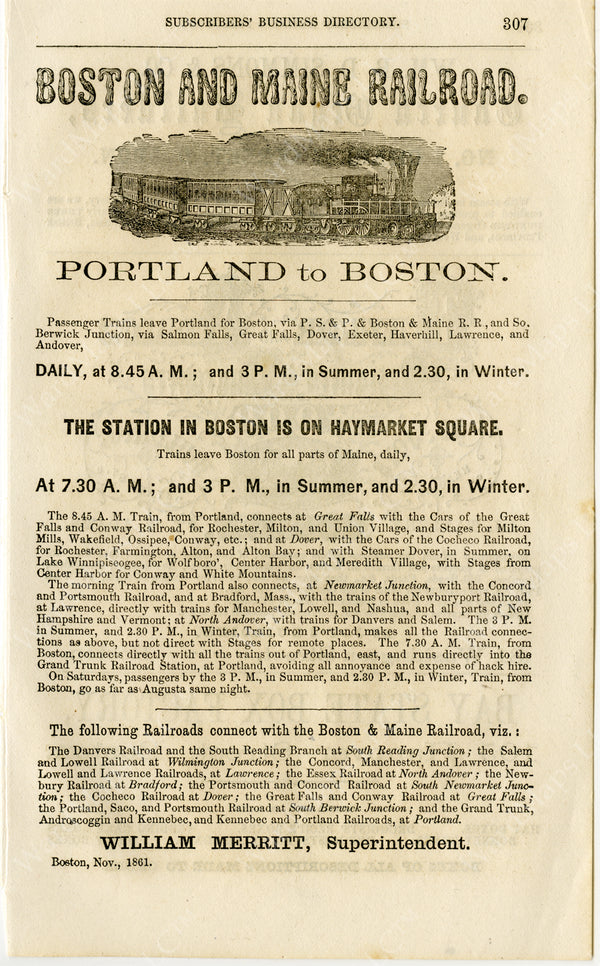 "Boston & Maine Railroad Print Ad ""Portland to Boston"" 1861"