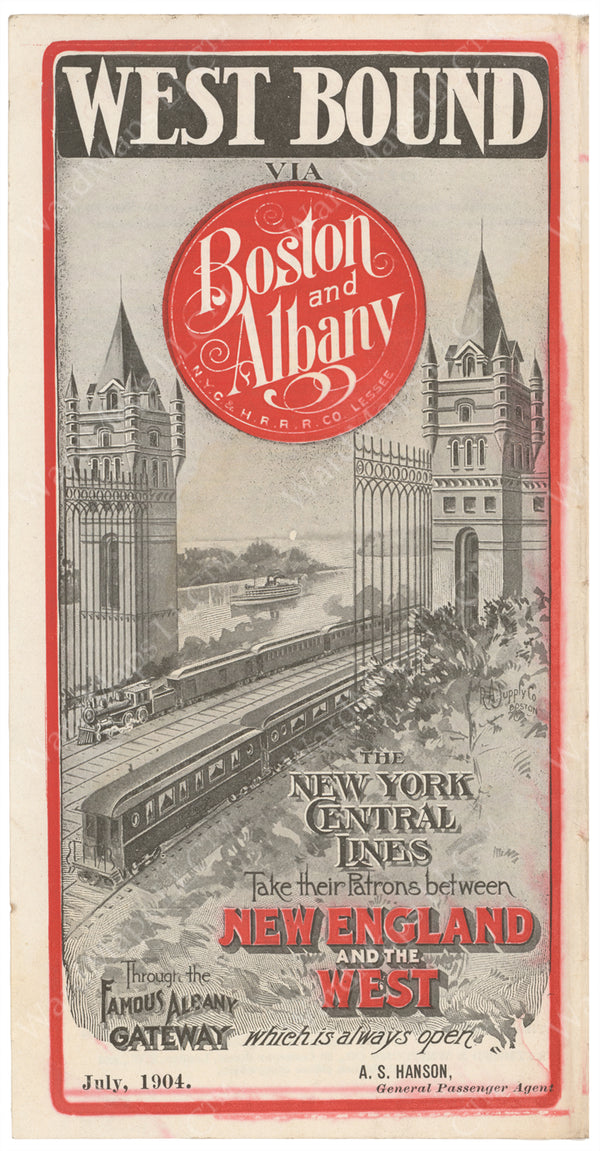 Boston & Albany Railroad Timetable Cover 1904