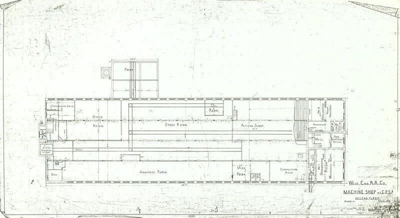 Central Power Station Machine Shop, South End, Boston, Massachusetts 1890s: Second Floor Plan