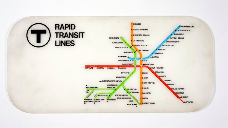 "Rapid Transit Lines Map from Red Line ""Blue Bird"" Cars, Mid-1970s"