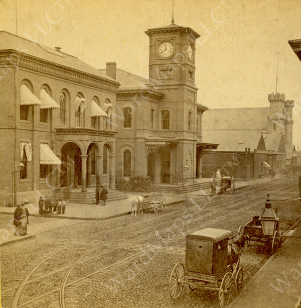 Railroad Depots on Causeway Street, Boston, Massachusetts Circa 1868