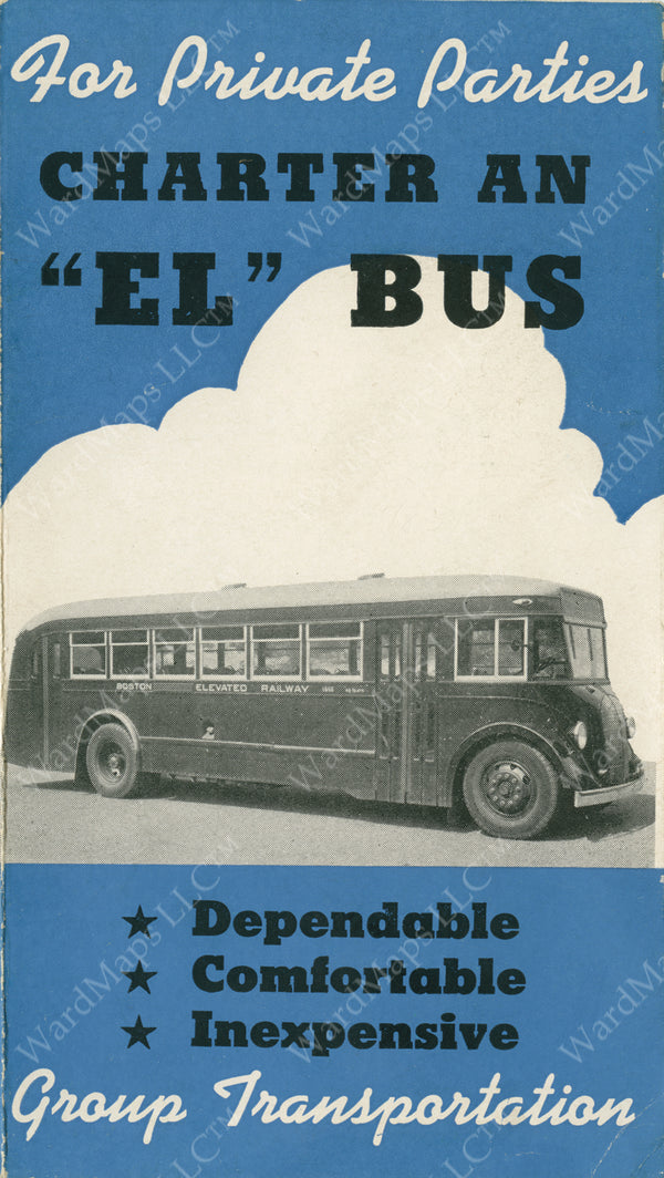 Boston Elevated Railway Co. Charter Bus Brochure Cover Circa 1930s
