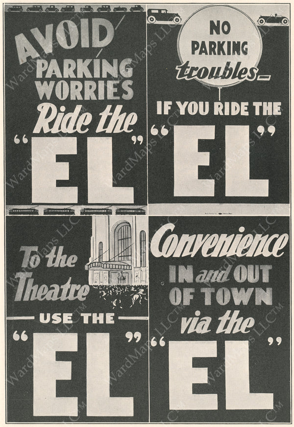 "Boston ""Ride the EL"" Print Advertisements 1930"