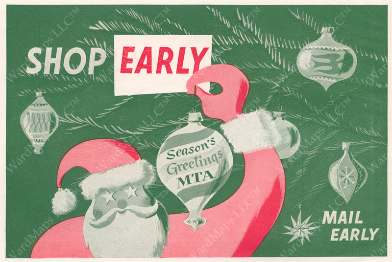 MTA Christmas Shopping Advertisement Graphic 1952