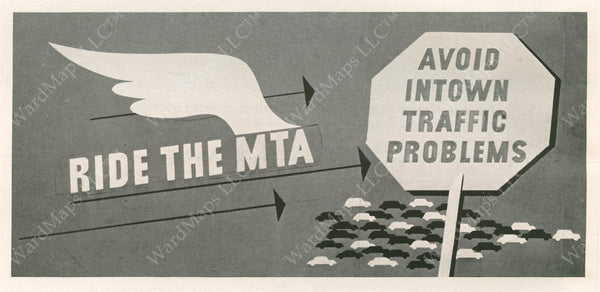 "MTA Print Advertisement ""Ride the MTA"" Circa 1950s"