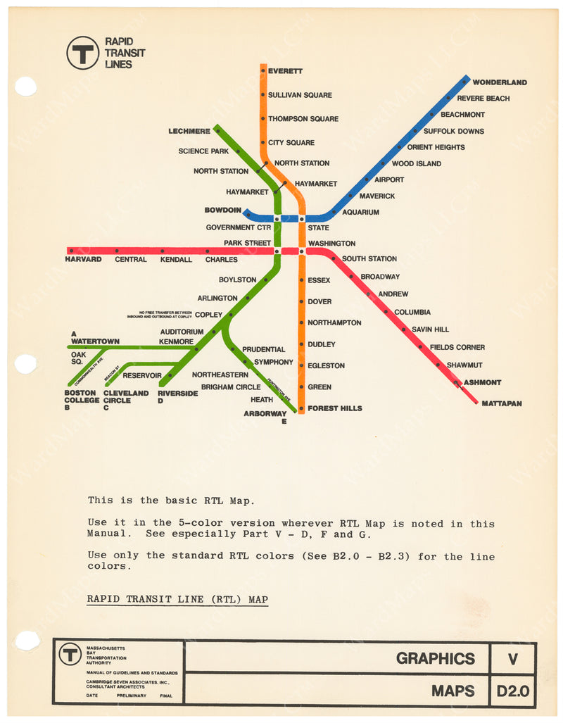 MBTA Rapid Transit Lines Map Master Sheet 1966