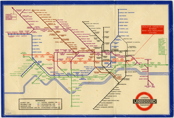 London Underground Railway Map Number 1, 1935