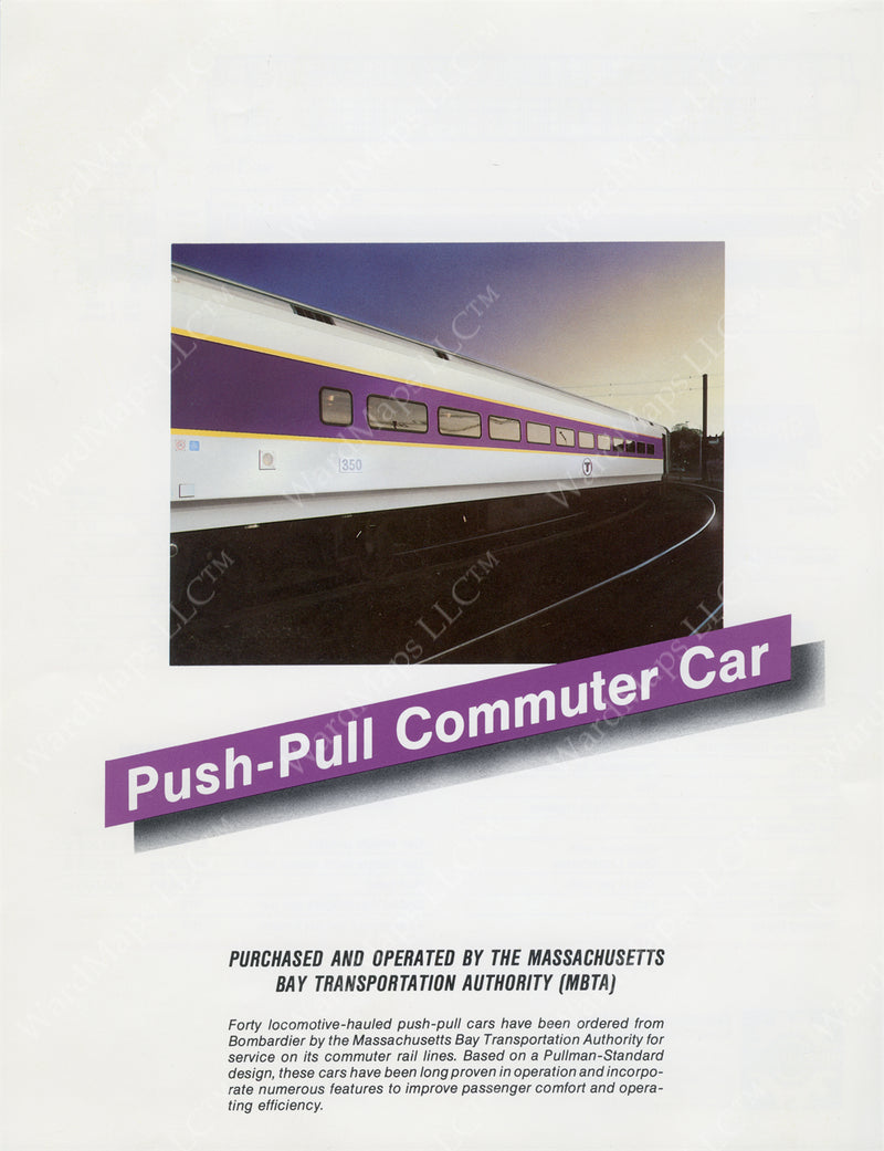MBTA 600-series Push-Pull Commuter Car Brochure (Side A) Circa 1989