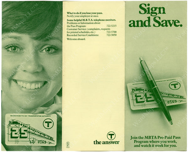 Brochure Advertising the First T Passes (Side A) 1974
