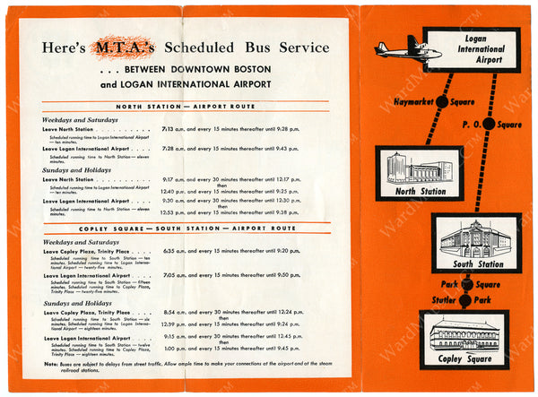 MTA Airport Bus Service Brochure (Side B) Circa 1948