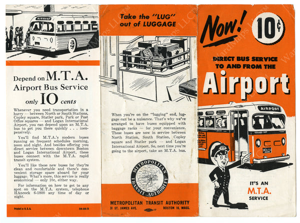 MTA Airport Bus Service Brochure (Side A) Circa 1948