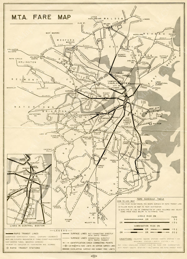 MTA Fare Map 1949