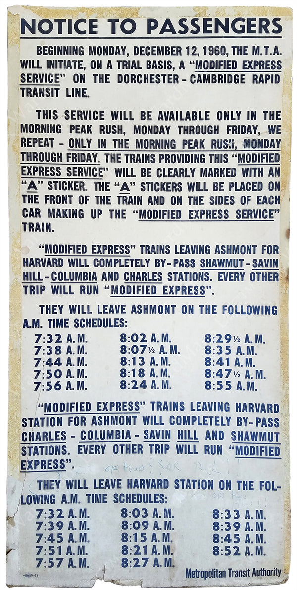 MTA Modified Express Service Poster 1960