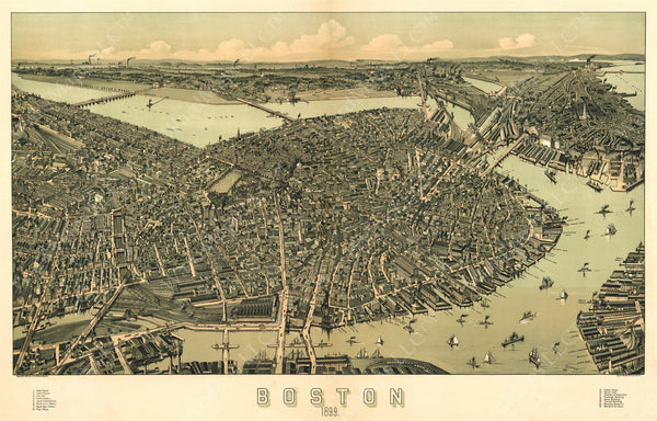 Bird's Eye View of Boston, Massachusetts 1899